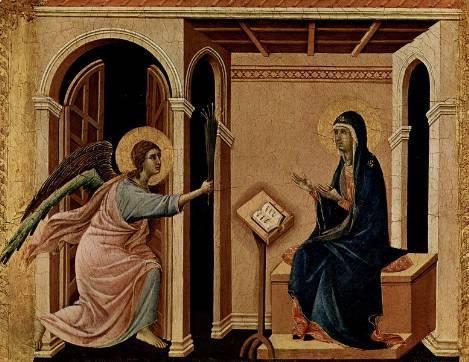 Архангел Гавриил приносит Деве Марии весть о предстоящей кончине (Дуччо, Маэста, деталь)