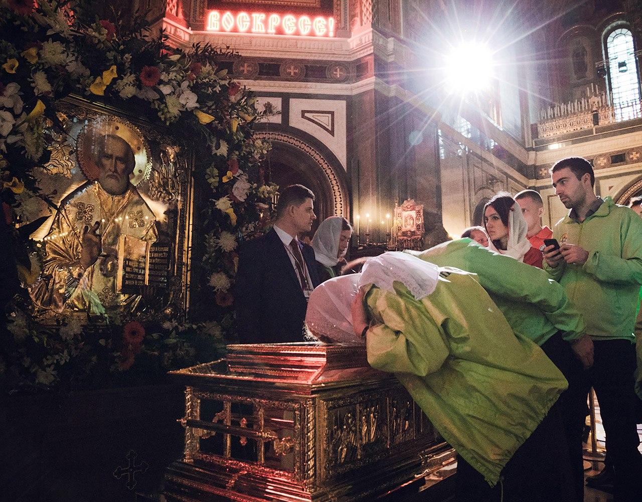 Православные добровольцы на встрече мощей Николая Чудотворца
